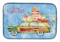Carolines Treasures  CK2430DDM Merry Christmas Fox Terrier Dish Drying Mat