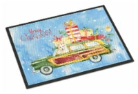 Merry Christmas White Collie Indoor or Outdoor Mat 18x27