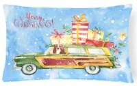 Merry Christmas Basset Hound Canvas Fabric Decorative Pillow