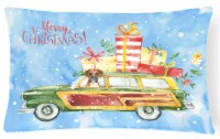Merry Christmas Boxer Canvas Fabric Decorative Pillow - 12Hx16W