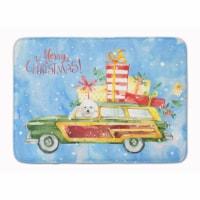 "Merry Christmas Bichon Fris? Machine Washable Memory Foam Mat - 19 X 27"""