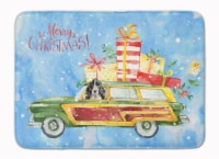 Merry Christmas Black Parti Cocker Spaniel Machine Washable Memory Foam Mat