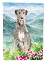 Mountain Flowers Irish Wolfhound Flag Canvas House Size - House Size