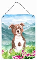 Mountian Flowers Red Staffordshire Bull Terrier Wall or Door Hanging Prints - 16HX12W