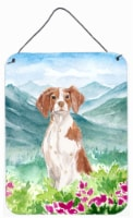 Mountian Flowers Brittany Spaniel Wall or Door Hanging Prints