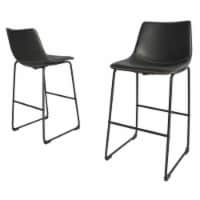 Charcoal Faux Leather 29  Barstools with Black Legs (Set of 2) - 1