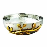 Elegance Gilt Leaf Hammered Stainless Steel Salad Bowl, Silver & Gold - 1