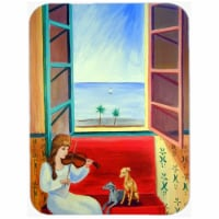 Italian Greyhounds with Mom and Violin Glass Cutting Board - Large, 15 x 12 in.