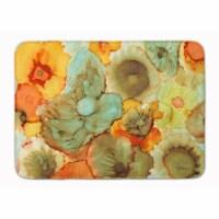 Abstract Flowers Teal & Orange Machine Washable Memory Foam Mat - 1