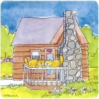 Cat Love At The Log Cabin Foam Coasters - Set 4 - 1