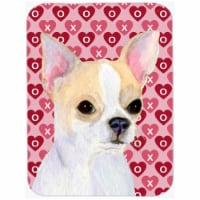Chihuahua Hearts Love & Valentines Day Portrait Glass Cutting Board, Large - 1
