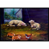 Corgi Chaos In The Barn With Sheep Indoor & Outdoor Mat, 24 x 36 in.