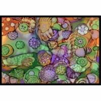 Abstract in Purple Green & Orange Indoor or Outdoor Mat, 24 x 36 in. - 1