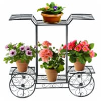 Gymax 6-Tier Garden Cart Stand Flower Rack Display Decor Flower Pot Plant Holder - 1 unit