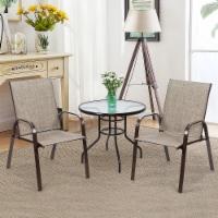 Costway 2PCS Patio Chairs Deck Yard W/Armrest Brown\Beige\Gray - 1 unit