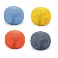 Costway Hand Knitted Pouf Floor Ottoman Footrest Seating 100% Cotton Braid Cord - 1 unit
