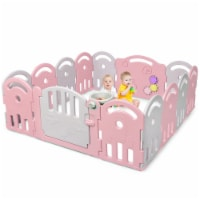 Costway 14-Panel Baby Playpen Kids Activity Center Playard, with Music Box - 1 unit