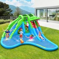 Costway Inflatable Kid Bounce House Dual Slide Climbing Wall Splash Pool w/Bag - 224.5''x203''x94.5''