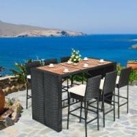Gymax Set of 7pcs Rattan Wicker Bar Set Patio Dining Furniture w/ Wood Table Top 6 Stools - 1 unit