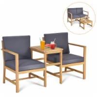 Costway 3 in 1  Patio Table Chairs Set Solid Wood Garden Furniture - 1 unit