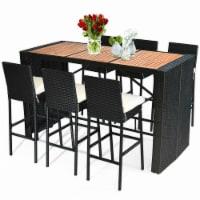 COSTWAY 7 PCS Patio Rattan Wicker Bar Dining Furniture Set wood Table Top 6 Stools - 1 unit