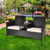 Costway Patio Rattan Chat Set Loveseat Sofa Table Chairs Conversation Cushioned