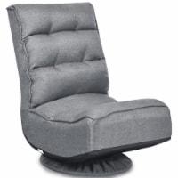 Costway Gaming Chair Fabric 5-Position Folding Lazy Sofa 360 Degree Swivel Grey