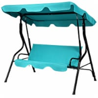 Costway Patio 3 Seats Canopy Swing Glider Hammock Cushioned Backyard Blue - 1 unit