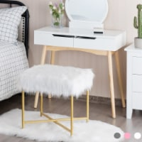 Costway Faux Fur Stool Ottoman Footrest Stool Decorative with Metal Legs GreyPinkWhite - 1 unit