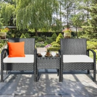 Costway 3PCS Patio Rattan Furniture Set Coffee Table & Chairs Set with Seat Cushions Garden - 1 unit