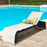 Costway Patio Rattan Lounge Chair Chaise Recliner Back Adjustable Cushioned Garden - 1 unit