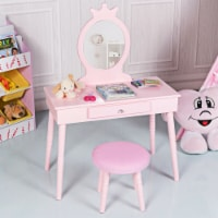 Gymax Kids Vanity Makeup Table & Chair Set Make Up Stool Play Set for Children Pink - 1 unit