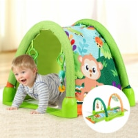 Gymax 4-in-1 Green Activity Play Mat Baby Activity Center w/3 Hanging Toys - 1 unit