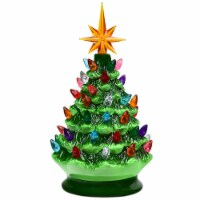 Costway 9.5''Pre-lit Hand-Painted Ceramic Tabletop Christmas Tree Green