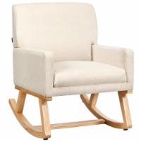 Costway Mid Century Massage Rocking Chair Upholstered Armchair w/ Lumbar Support BeigeGray