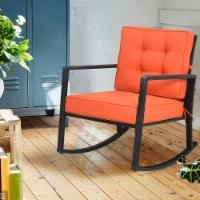 Costway Patio Rattan Rocker Chair Outdoor Glider Wicker Rocking Chair Cushion Lawn Deck - 1 unit