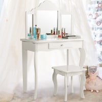 Costway Vanity Table Set Makeup Dressing Table Stool with mirror - 1 unit
