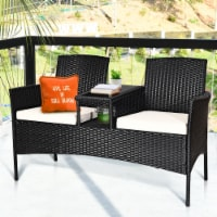 Costway Patio Rattan Conversation Set Seat Sofa Cushioned Loveseat Glass Table Chairs