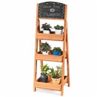 Costway Wooden Sidewalk Menu Chalkboard Sign W/ 3 Removable Plant Display Shelves - 1 unit