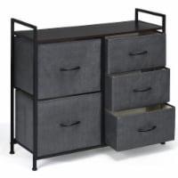 Costway 5 Drawers Dresser Storage Unit Side Table Display Organizer Dorm Room Wood Dark Gray