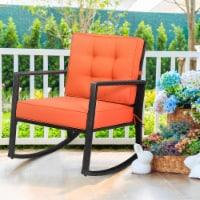 Gymax Outdoor Wicker Rocking Chair Patio Lawn Rattan Single Chair Glider w/ Cushion - 1 unit