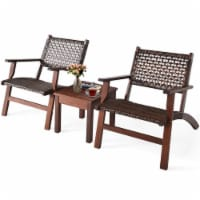 Costway 3PCS  Patio Rattan Furniture Set  Coffee Table - 1 unit