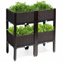 Costway Set of 4 Raised Garden Bed Elevated Flower Vegetable Herb Grow Planter Box Brown - 1 unit
