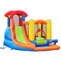 Costway Inflatable Bounce House Water Slide w/ Climbing Wall Splash Pool Water Cannon - 9ftx10.5ftx7ft