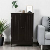 Gymax Bathroom Floor Storage Cabinet Double Door Kitchen Cupboard Shoe Cabinet Brown - 1 unit