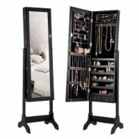 Gymax Jewelry Organizer Vanity Box w/ Full Length Mirror Black/ White - 1 unit
