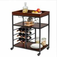 Gymax 3 Tier Storage Kitchen Trolley Utility Bar Serving Cart w/Wine Rack & Glass Holder - 1 unit