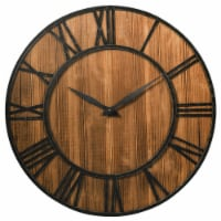 Costway 30'' Round Wall Clock Decorative Wooden Clock Come With Battery - 1 unit