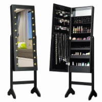 Gymax Full Length Mirror Jewelry Organizer Vanity Box w/ 18 LED Lights - 1 unit