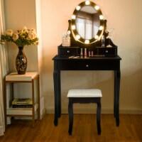 Gymax Bedroom Vanity Set Makeup Dressing Table w/3 Drawers 10 LED Bulb Black - 1 unit